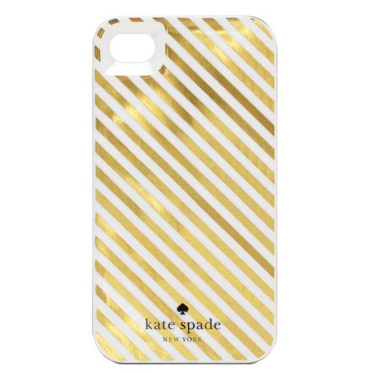 Kate Spade diagonal stripe iPhone case - gold